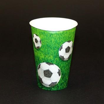 Pappbecher; 200 ml; Fußball; grün; Hartpappe spezialbeschichtet; Durchmesser: 70 mm, Höhe: 97 mm