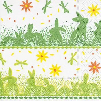 Paper + Design Cocktail-Servietten; 25 x 25 cm; Bunny meadow: Osterhasenschatten; grün-gelb-weiß; 100224; 3-lagig; 1/4-Falz (quadratisch); Zelltuch