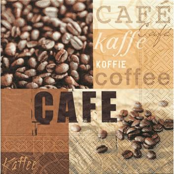 Paper + Design Cocktail-Servietten; 25 x 25 cm; Coffee gallery; 11321; 3-lagig; 1/4-Falz (quadratisch); Zelltuch