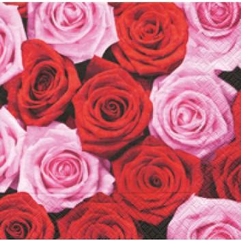 Paper + Design Cocktail-Servietten; 25 x 25 cm; Pink & red roses; 11382; 3-lagig; 1/4-Falz (quadratisch); Zelltuch
