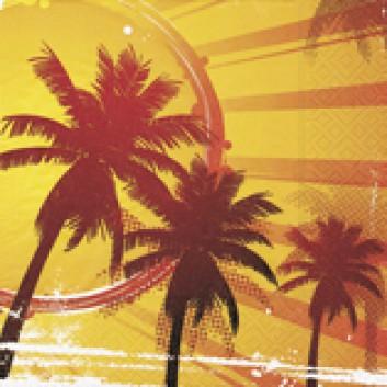 Paper + Design Cocktail-Servietten; 25 x 25 cm; Hot tropical; 11444; 3-lagig; 1/4-Falz (quadratisch); Zelltuch