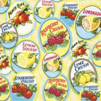 Paper + Design Cocktail-Servietten; 25 x 25 cm; Classic labels; 11557; 3-lagig; 1/4-Falz (quadratisch); Zelltuch