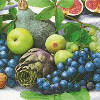 Paper + Design Cocktail-Servietten; 25 x 25 cm; Fruitful season; grün; 11633; 3-lagig; 1/4-Falz (quadratisch); Zelltuch