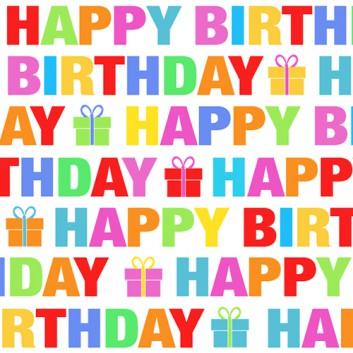 Braun & Company Servietten; 25 x 25 cm; Colour Birthday: Text; bunt; 16010; 3-lagig; 1/4-Falz (quadratisch); Zelltuch