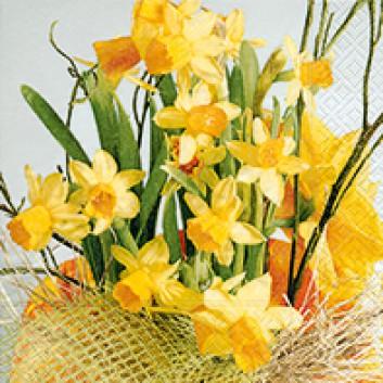 Paper + Design Cocktail-Servietten; 25 x 25 cm; Daffodil blossoms; bunt; CN0387; 3-lagig; 1/4-Falz (quadratisch); Zelltuch