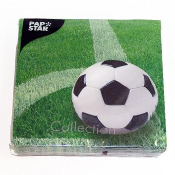 Servietten; 33 x 33 cm; Fußball; grün; 1628; 3-lagig; 1/4-Falz (quadratisch); Zelltuch