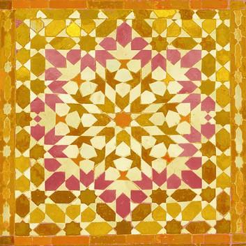 Braun & Company Servietten; 33 x 33 cm; Oriental (Kachelmotiv); gelb-orange; 20008; 3-lagig; 1/4-Falz (quadratisch); Zelltuch