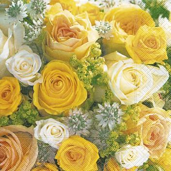 Paper + Design Servietten; 33 x 33 cm; Bouquet of roses: Fotomotiv Rosen; gelb; 200152; 3-lagig; 1/4-Falz (quadratisch); Zelltuch