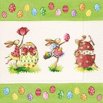 Paper + Design Servietten; 33 x 33 cm; Easter round dance: Osterhasen; bunt; 200239; 3-lagig; 1/4-Falz (quadratisch); Zelltuch