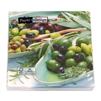 Paper + Design Servietten; 33 x 33 cm; Bowles with olives / Oliven; 200299; 3-lagig; 1/4-Falz (quadratisch); Zelltuch