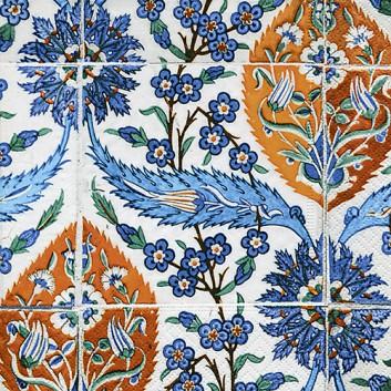 Paper + Design Servietten; 33 x 33 cm; Asian Tiles: Kachelmotiv; blau-kupfer-weiß; 200439; 3-lagig; 1/4-Falz (quadratisch); Zelltuch