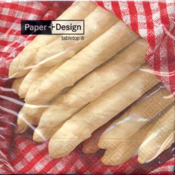 Paper + Design Servietten; 33 x 33 cm; Fresh asparagus; 21268; 3-lagig; 1/4-Falz (quadratisch); Zelltuch