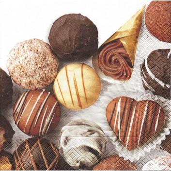 Paper + Design Servietten; 33 x 33 cm; Petits chocolats; 21299; 3-lagig; 1/4-Falz (quadratisch); Zelltuch