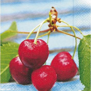 Paper + Design Servietten; 33 x 33 cm; Fresh cherries; 21340; 3-lagig; 1/4-Falz (quadratisch); Zelltuch