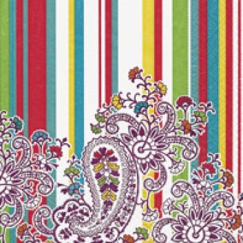 Paper + Design Servietten; 33 x 33 cm; Paisley onstripes; 21434; 3-lagig; 1/4-Falz (quadratisch); Zelltuch