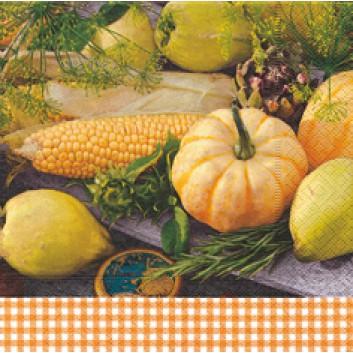 Paper + Design Servietten; 33 x 33 cm; Harvest home; 21483; 3-lagig; 1/4-Falz (quadratisch); Zelltuch