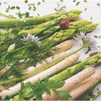 Paper + Design Servietten; 33 x 33 cm; It's asparagus time; 21527; 3-lagig; 1/4-Falz (quadratisch); Zelltuch