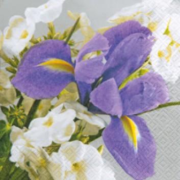 Paper + Design Servietten; 33 x 33 cm; Bright Iris; 21577; 3-lagig; 1/4-Falz (quadratisch); Zelltuch