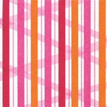 Paper + Design Servietten; 33 x 33 cm; Summer stripes berry; 21600; 3-lagig; 1/4-Falz (quadratisch); Zelltuch
