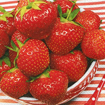Paper + Design Servietten; 33 x 33 cm; Sweet strawberris; 21653; 3-lagig; 1/4-Falz (quadratisch); Zelltuch