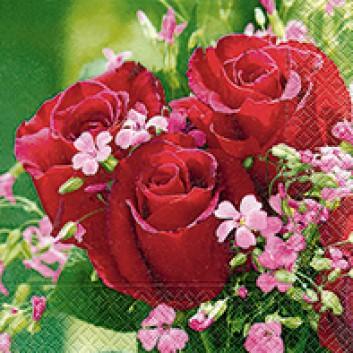 Paper + Design Servietten; 33 x 33 cm; Bouquet de roses; rot-rosa; 21738; 3-lagig; 1/4-Falz (quadratisch); Zelltuch