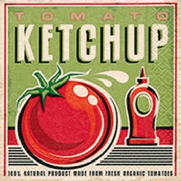 Paper + Design Servietten; 33 x 33 cm; Tomato ketchup; rot-natur auf grün; 21817; 3-lagig; 1/4-Falz (quadratisch); Zelltuch