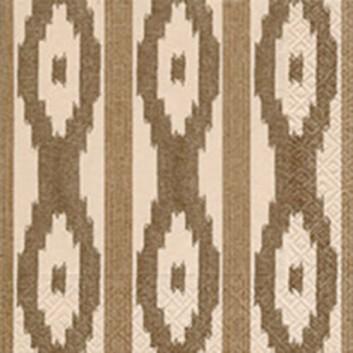 Paper + Design Servietten; 33 x 33 cm; Traditional pattern; braun-natur; 21849; 3-lagig; 1/4-Falz (quadratisch); Zelltuch