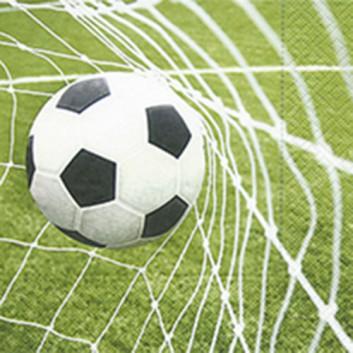 Paper + Design Servietten; 33 x 33 cm; Special goal: Fussball im Tornetz; weiß-schwarz auf grün; 27058; 3-lagig; 1/4-Falz (quadratisch); Zelltuch