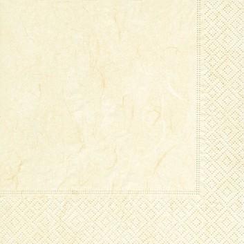 Paper + Design Servietten; 33 x 33 cm; Pure: uni - Strohseiden-Optik; cream (creme); 280008; 3-lagig; 1/4-Falz (quadratisch); Zelltuch