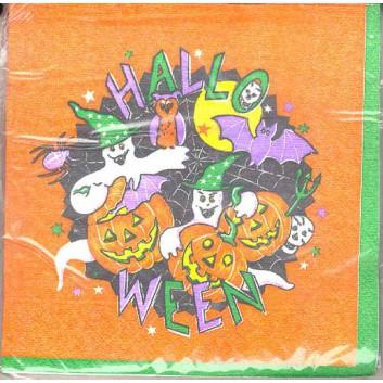 Servietten; 33 x 33 cm; Halloween-Bande; 3-lagig; 1/4-Falz (quadratisch); Zelltuch