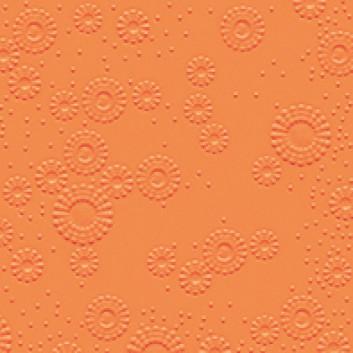 Cocktail-Servietten mit Strukturprägung; 25 x 25 cm; Moments: Blütenprägung uni; orange; 14015; 3-lagig, geprägt; 1/4-Falz (quadratisch); Zelltuch