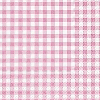 Paper + Design Cocktail-Servietten, Vichy; 25 x 25 cm; Vichy-New rosé; rosa; 100706; 3-lagig; 1/4-Falz (quadratisch); Zelltuch (Tissue)