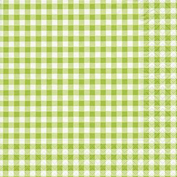 Paper + Design Servietten, Vichy; 33 x 33 cm; Vichy-New green; hellgrün; 200703; 3-lagig; 1/4-Falz (quadratisch); Zelltuch (Tissue)