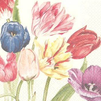 HomeFashion Servietten; 33 x 33 cm; Tulpen; bunt auf creme; 211201; 3-lagig; 1/4 Falz (quadratisch); Zelltuch