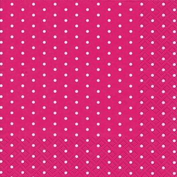 HomeFashion Servietten; 33 x 33 cm; Mini Dots; Punkte; weiß auf fuchsia; 211358; 3-lagig; 1/4 Falz (quadratisch); Zelltuch