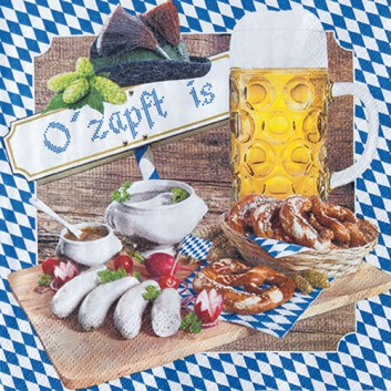 HomeFashion Servietten; 33 x 33 cm; O´zapft is; Bayern Raute; weiß-blau + andere Farben; 211707; 3-lagig; 1/4 Falz (quadratisch); Zelltuch