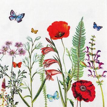 HomeFashion Servietten; 33 x 33 cm; Meadow in Bloom: Blütenwiese; bunt auf weiß; 211809; 3-lagig; 1/4 Falz (quadratisch); Zelltuch
