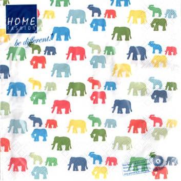 HomeFashion Servietten; 33 x 33 cm; Elefant Kids; bunte Elefanten auf weiß; 211858; 3-lagig; 1/4 Falz (quadratisch); Zelltuch