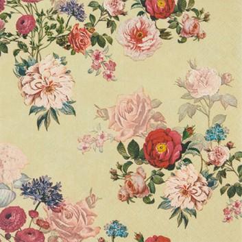 HomeFashion Servietten; 33 x 33 cm; Elisabeth creme: Antique-Blüten; rosé-creme; 212000; 3-lagig; 1/4 Falz (quadratisch); Zelltuch