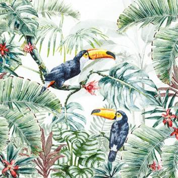 HomeFashion Servietten; 33 x 33 cm; Welcome to the Jungle: Tukan + Dschungel; grün-bunt; 212014; 3-lagig; 1/4 Falz (quadratisch); Zelltuch