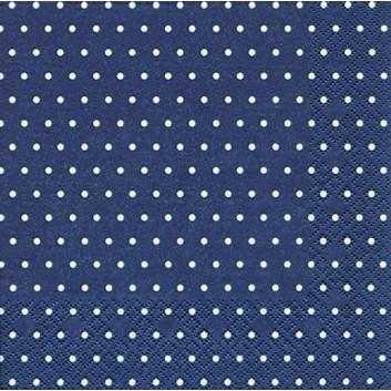 HomeFashion Servietten; 33 x 33 cm; Mini Dots: Punkte; weiß auf dunkelblau; 219759; 3-lagig; 1/4 Falz (quadratisch); Zelltuch
