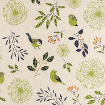 HomeFashion Recycling-Servietten -Eco Line-; 33 x 33 cm; Birds and Twigs: Vögel und Blätter; orange-oliv-schwarz auf naturbraun; 240003; 2-lagig