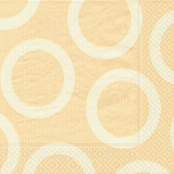 Paper + Design Servietten, Circle; 33 x 33 cm; Circle cream; creme; 28206; 3-lagig; 1/4-Falz (quadratisch); Zelltuch