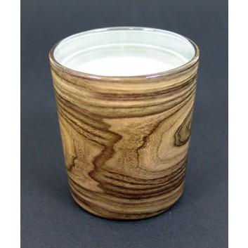 Duni Dekor-Glas-Kerze; Switch & Shine; Wood; natur-braun; 85 x 80 mm; ca. 30 Stunden; Glas