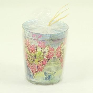 Paper + Design Dekor-Kerze/Windlicht-Glas; Roses in shape: Blütenherz; hellblau-rosa-creme; Durchmesser 7/8,5 cm / Höhe 10,5; Glas-Windlicht