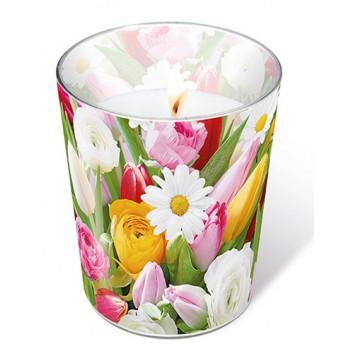 Paper + Design Dekor-Kerze/Windlicht-Glas; Colourful greetings: Fotomotiv Tulpen; weiß-gelb-rosa-grün; Durchmesser 7/8,5 cm / Höhe 10,5
