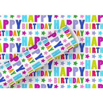 Braun & Company Geschenkpapier, Platinum; 70 cm x 1,5 m; Happy Birthday; bunt; 16431; metallisiert (aluminiumbedampft)