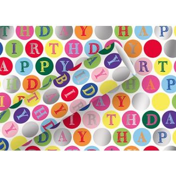 Braun & Company Geschenkpapier, Platinum; 70 cm x 1,5 m; Happy Birthday - Kreise; bunt auf weiß; 16435; metallisiert (aluminiumbedampft)