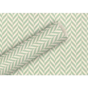Braun & Company Graspapier-Geschenkpapier; 70 cm x 2 m; Fischgrät; natur-mint; 21400; Graspapier; Röllchen; ca. 80 g/qm