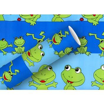 Braun & Company Geschenkpapier, lux; 70 cm x 2 m; Froggy; blau-grün; 10450; Offsetpapier, glatt; Röllchen auf Papphülse (34 mm Ø); ca. 80 g/qm